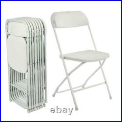 (10 PACK) Commercial Wedding Quality Stackable Plastic Folding Chairs White