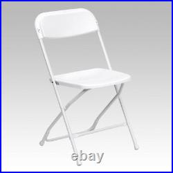 (100 PACK) 650 Lbs Capacity Commercial Quality White Plastic Folding Chairs