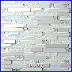 11-PCS Iridescent White Glass Mosaic Tile Silver Stainless Steel Backsplash NB01