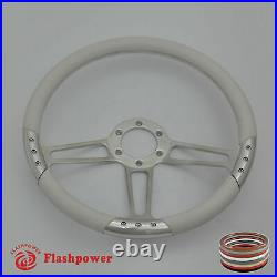14 UNIVERSAL BILLET ALUMINUM 6 HOLE STEERING WHEEL With WHITE LEATHER WRAP
