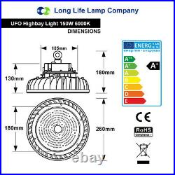 150W LED Low Bay Light UFO Style IP65 Outdoor Commercial Warehouse Lighting Disc