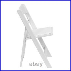 24 White Resin Folding Chair Commercial Stackable Wedding Party Event Chair