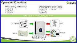 24V 3000W 120/240V Solar Inverter Growatt SPF LVM 2KW-80A MPPT
