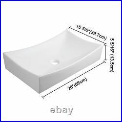 26 Bathroom Vessel Sink Porcelain Ceramic Above Counter Bowl Basin Pop Up Drain