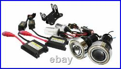 3 Projector Fog Light Lamps with 40-LED Halo Angel Eyes Rings + 6000K HID Combo