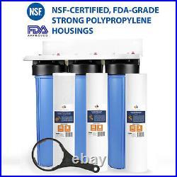 3 Stage Big Blue 20 Whole House System 1 Port + Carbon Block+Sediment Filters