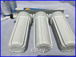 3 Stage RV Water Filter System White Housings 3/4 In/Out Garden Hose Fittings