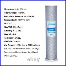 4 PK Big Carbon Block Blue Color Whole House Replacement Water Filter 20 x 4.5