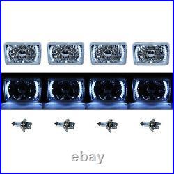 4X6 White LED Halo Drl Halogen Headlight Headlamp Light Bulbs Crystal Clear Set