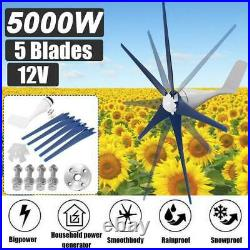 5000W Max Power 5 Blades DC 12V Wind Turbine Generator Kit with Charge Controller