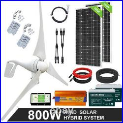 600W 800W 1200W Watt Hybrid Solar and Wind Power Kit For Home Battery Charge
