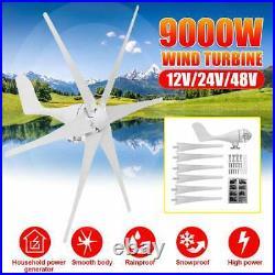 9000W Wind Turbines Generator Horizontal Windmill Energy 6 Nylon Fiber Blades 24
