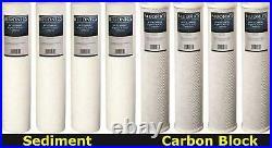 BLUONICS CTO Carbon Block & Sediment 8pcs 20x 4.5 Replacement Filters