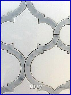 Box of 5 Marble Tiles Arabesque Lanterns Waterjet Mosaic of Thassos/Carrara