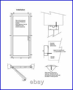 COMMERCIAL ALUMINUM STOREFRONT DOOR, FRAME & CLOSER, 3'0 x 7'0, WHITE FINISH