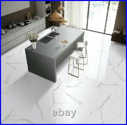 Calacatta White Glazed Porcelain Tile Full Lappato 24x48x4/9