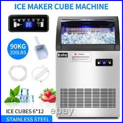 Commercial Grade Ice Maker 200lbs 24h Automatic Clear Cube Ice Making Machine US
