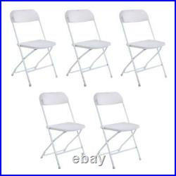 Commercial Lot 10 Plastic Folding Chairs Stackable Wedding Party Event White US