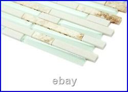 Glass Tile 10 Sheets Elegant Backsplash Accent Wall Decor for Beach House Condo