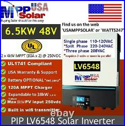 MPP Solar LV6548 UL1741 Cert 6.5kW 120V output 2 x 4kW MPPT (80A x 2) at 250VDC