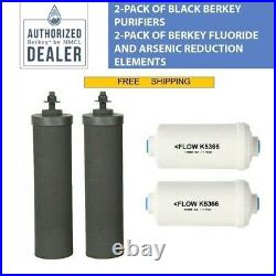 New 2 Black Berkey Replacement Filters & 2 PF-2 Fluoride Filters Free Shipping