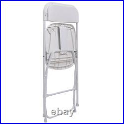 New Set of 10 Folding Chairs Commercial Plastic Wedding Party Event Chair White