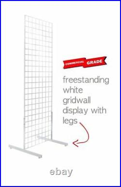 Only Hangers Commercial Grid Unit, 2' x 6' with Legs, White