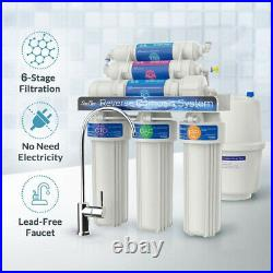 T2-100GPD 6 Stage Alkaline Reverse Osmosis Drinking Water Filter System Purifier