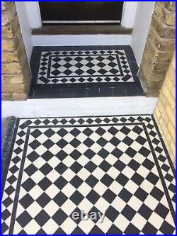 VICTORIAN OLD ENGLISH ORIGINAL STYLE FLOOR TILES BLACK AND WHITE 100 mm Per m2