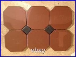 VICTORIAN OLD ENGLISH ORIGINAL STYLE OCTAGON TILES 10x10 cm, BROWN or WHITE