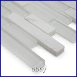 White Stripes Glass & Stone Mosaic Tiles Sheet Walls Floors Bathroom Kitchen
