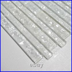 Zenith White Glass Stripes Mosaic Tiles Walls Floors Bathrooms Kitchens